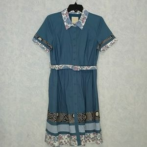 Modcloth belted shirt dress contrasting fabric LG